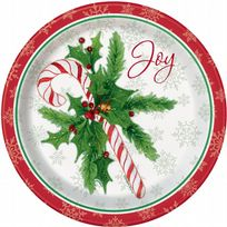 "Candy Cane Christmas 9"" Paper Plates (8)"